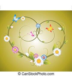 floral, corazón, flores, hecho, primavera