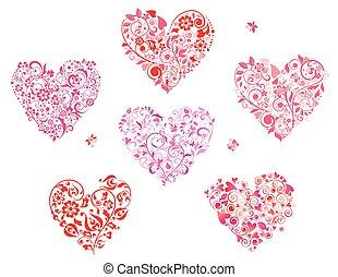 floral, corazón forma, saludo