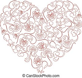 floral, corazón, imagen, vector, ornamental