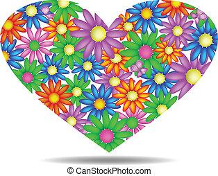 floral, corazón