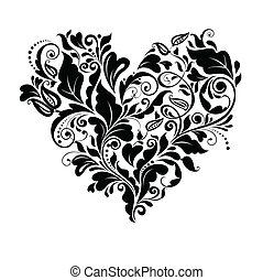 floral, corazón, negro