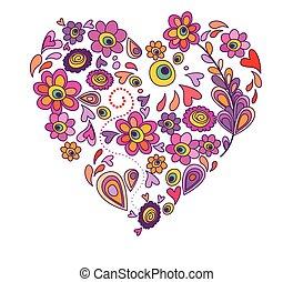 floral, corazón, resumen, tarjeta de felicitación