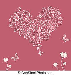 floral, corazón, resumen