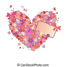 floral, corazón, saludo