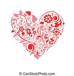 floral, corazón, tarjeta de felicitación