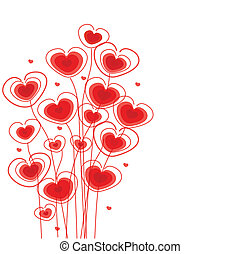 floral, corazones, saludos, tarjeta
