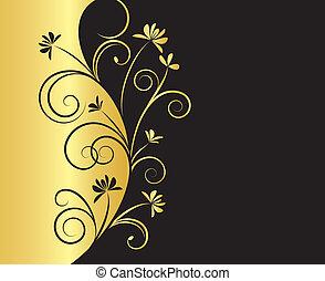 floral, cores, experiência preta, ouro