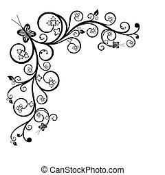 Floral black and white corner design element. Vector illustration