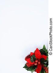 floral, corner., noël, page