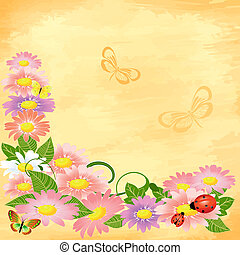 floral corner on grunge background