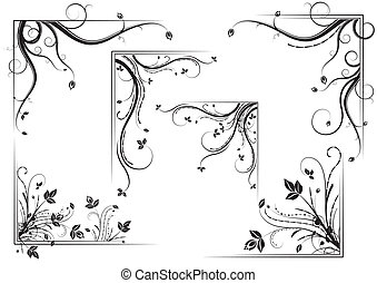 Black vintage floral corner set, vector illustration