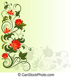 Floral corner vector design element with copy space.