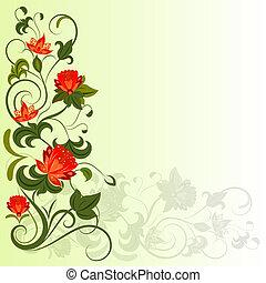 Floral corner vector design element with copy space.