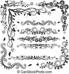 floral corners and borders - vector set