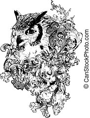 floral, coruja, vetorial, ilustração