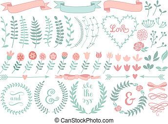 floral, couronne laurier, vecteur, ensemble