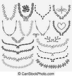 floral, couronnes, hand-drawn, laurels