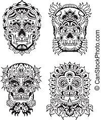 floral, crânes
