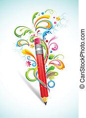 floral, crayon