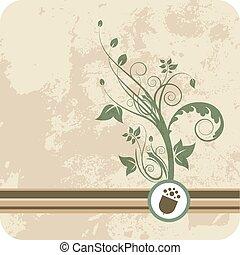 floral, crecimiento, verde, bellota