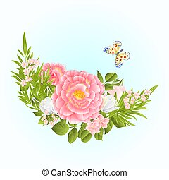 Floral crescent with pink and white Roses and butterfly vector