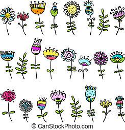 floral, croquis, éléments, conception, ton
