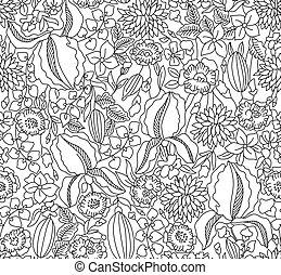 floral, croquis, blanc, noir, seamless