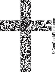 Christian cross made of floral elements