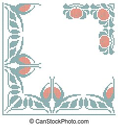 floral cross-stitch embroidery