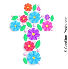 cross with colorful flowers - Floral cross with colorful...