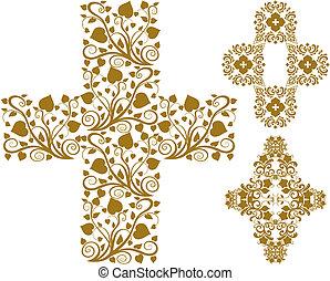 floral, crucifixos