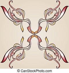 floral, cruz, elemento