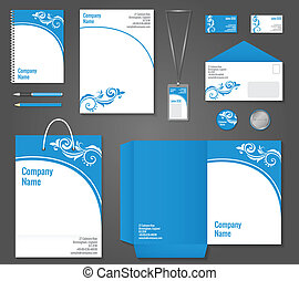 Floral curly business stationery template - Blue and white...
