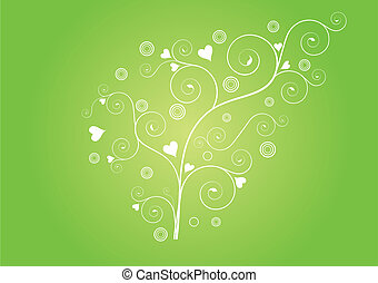 floral curly flower heart