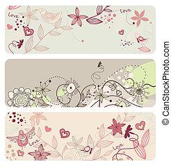 floral, cute, bandeiras, vetorial