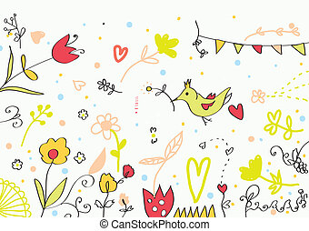 Floral cute banner with flowers, birds, hearts for holidays
