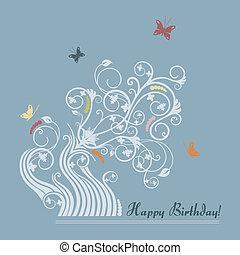 floral, cute, cartão aniversário, feliz