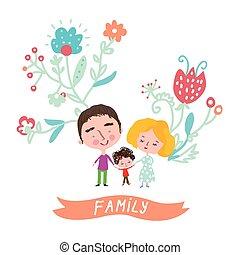 floral, cute, desenho, cartão, família