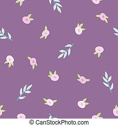 floral, cute, pattern., violeta
