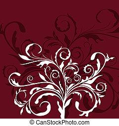 floral, décor, illustration, élément