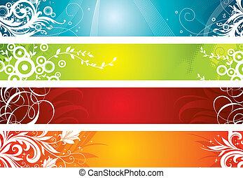 floral, décoratif, bannières, ensemble