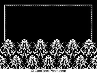 floral, décoratif, cadre, vecteur