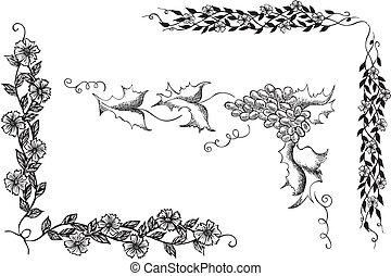 floral, décoratif, ensemble, coins