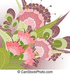 floral, décoratif, fleur, romantique