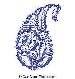 floral, décoratif, paisley, ornement