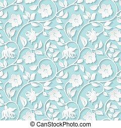 floral, décoratif, pattern., seamless
