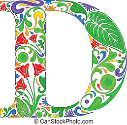 Floral D - Colorful floral initial capital letter D