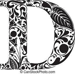 Floral D - Floral initial capital letter D