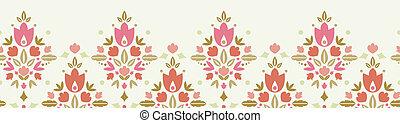 Floral damask horizontal seamless pattern background border