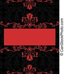 Floral damask invitation card